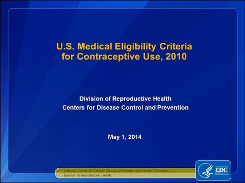 US Medical Eligibility Criteria for Contraceptive Use, 2010