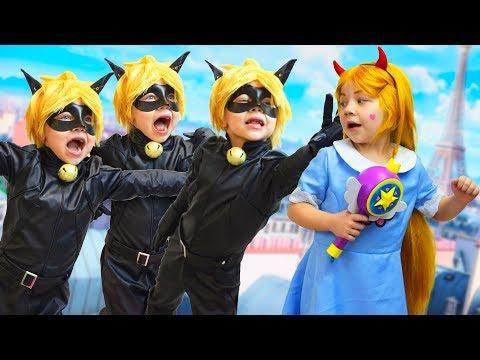 ЧТО ЕСЛИ, КОТ НУАР и СТАР Баттерфляй были вместе? Клоны Супер-Кота, Звездная принцесса спасает его