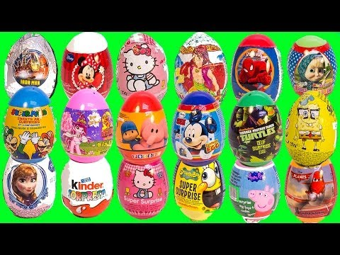 SURPRISE EGGS PEPPA PIG MICKEY MOUSE FROZEN SPIDERMAN SUPER MARIO MAWA PLAY DOH