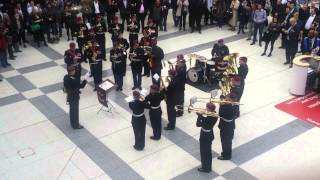 Army band playing 007 James Bond theme tune