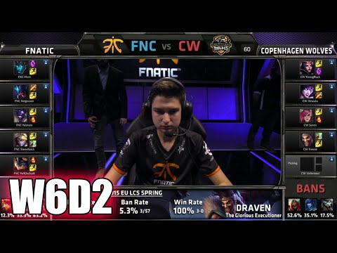Fnatic vs Copenhagen Wolves | S5 EU LCS Spring 2015 Week 6 Day 2 | FNC vs CW W6D2G2 VOD
