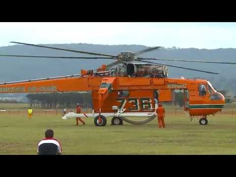 Sikorsky-Erickson Air Crane -  Incredible Hulk  - Start up & Take Off