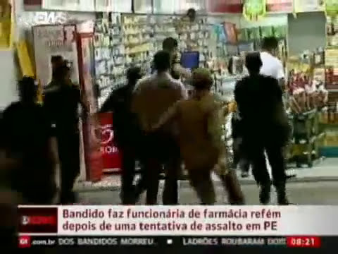 Policia mata bandido ao vivo - refém farmacia