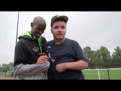 Olympic Champion Mo Farah & Mo Bourner on the track - August 2014 -