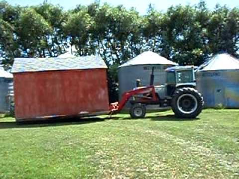 Tractor moving shed youtube for How to build a tractor shed