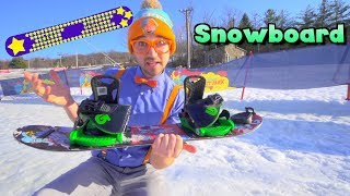 Blippi Learns How to Snowboard | Winter Outdoor Activities for Children