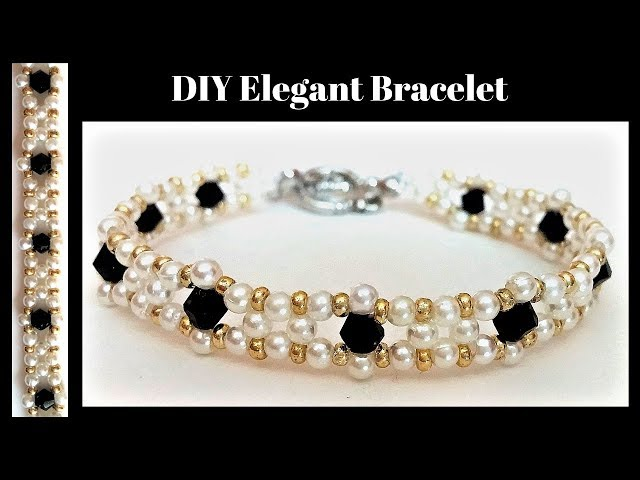 Jewelry Making Tutorial. How to make an easy beaded bracelet.