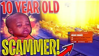 10 YEAR OLD STUPID Scammer SCAMS Himself *SCAMMER GETS SCAMMED* In Fortnite Save The World
