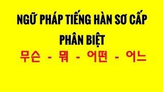 Ngữ Pháp Tiếng Hàn Sơ Cấp - Phân Biệt 무슨 – 뭐 – 어떤 – 어느