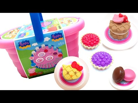 Peppa Pig Picnic Basket Play Doh Peppa Pig And Hello Kitty Pastry Shop Peppa Pig Toys video