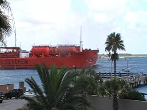 Large Ship leaving Port Aransas texas
