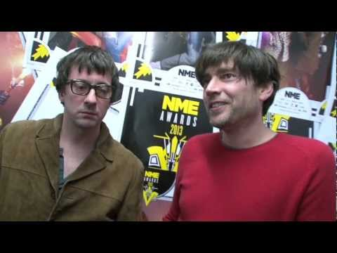 Blur&#039;s Alex James and Graham Coxon win &#039;Best Reissue&#039; for Blur - 21 at the NME Awards 2013