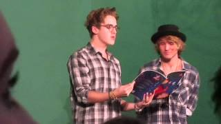 Tom Fletcher and Dougie Poynter reading the Dinosaur that pooped christmas - Bath 3rd Oct 2013