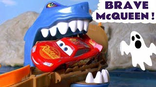 Disney Cars Toys brave McQueen Shark Attack Racing with Hot Wheels superhero Spiderman Toys TT4U