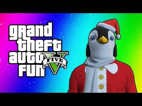 Gta 5 Online Funny Moments - Christmas Dlc, Santa Claus Delirious, Penguin Mask, Dance Moves! video