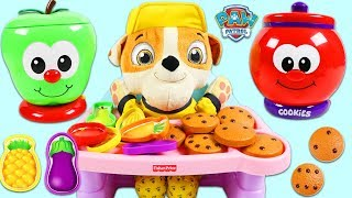 Paw Patrol Baby Rubble Plays Count and Learn Cookie Jar and Fruit Jar Games!