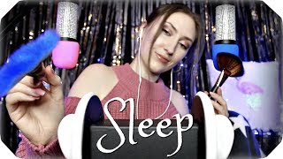 ASMR Ear & Microphone Brushing for Sleep (4 Mics) Strong Relaxing Sounds w/ Soft Whispering 🌙