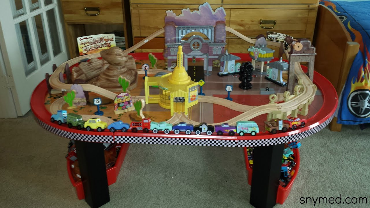REVIEW: Disney Cars Radiator Springs Race Track Set u0026 Table (by KidKraft for Costco) - YouTube