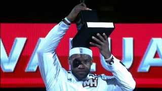 Commissioner David Stern Presents the MVP Trophy to LeBron James
