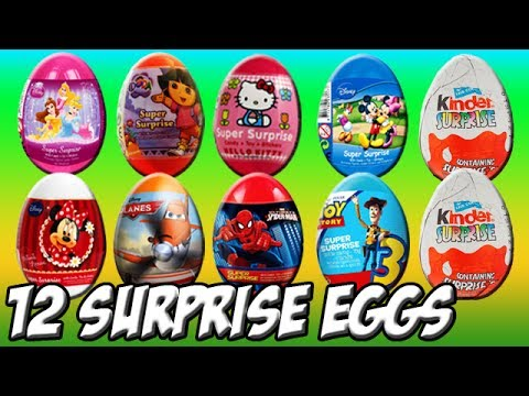 12 surprises Eggs Unboxing Dora The Explorer Hello Kitty Toy Story Disney Princess Movie