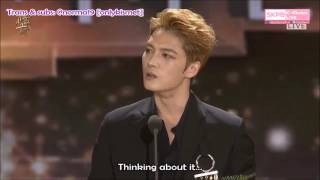 [ENG SUBS] Kim Jaejoong's acceptance speech GDA Popularity Award