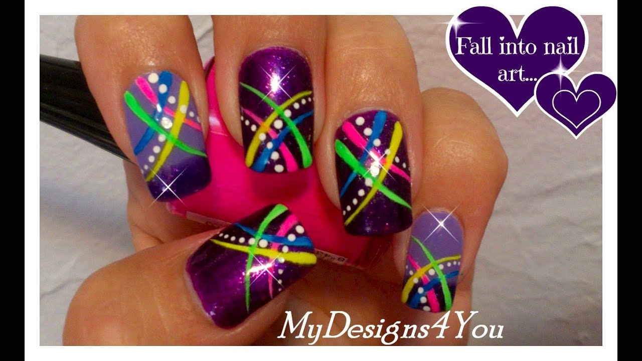 Neon nail art for beginners abstract nail design for short nails