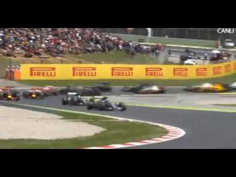 F1 2016 Spanish GP   START & Lewis Hamilton & Nico Rosberg  CRASH