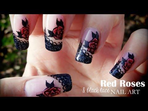 Ногти красные кружевом фото