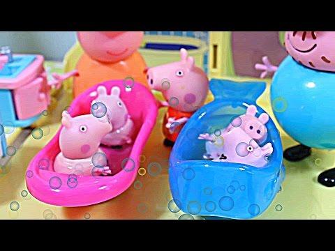 Свинка Пеппа. Новорождённые малыши. Купаем. Играем. Мультфильм для детей.
