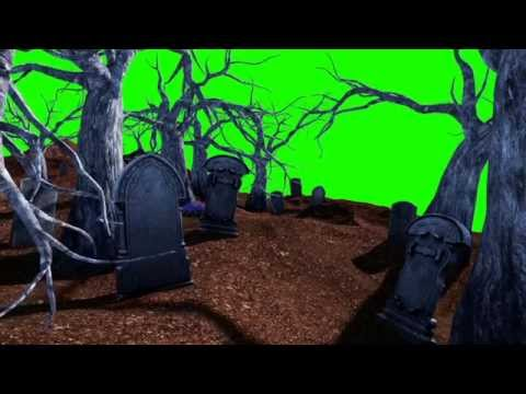 Green Screen Halloween Cemetery Living Trees - Footage PixelBoom CG