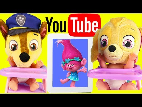 Paw Patrol Chase Learns Gumball Colors by Watching Youtube Videos on IPad Playset Pt 1
