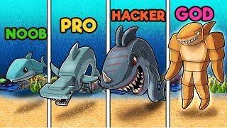 Minecraft - BUILD TO SURVIVE JAWS SHARK! (NOOB vs PRO vs HACKER vs GOD)