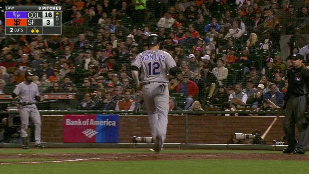 COL@SF: Rusin chips in offensively with two RBIs
