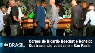 Corpos de Ricardo Boechat e Ronaldo Quatrucci são velados em São Paulo | SBT Brasil (12/02/19)