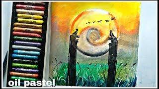 How to draw a beautiful scenery with oil pastel colours for beginners