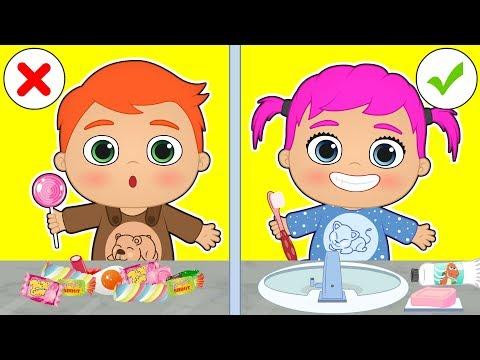 BEBES ALEX Y LILY 😁Aprende a lavarte los dientes antes de ir a dormir | Dibujos animados educativos