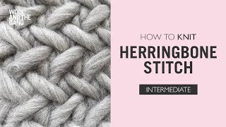 how to knit herringbone stitch