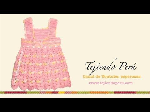 Vestido para bebita de 0 a 3 meses tejido en crochet (Parte 2: falda)