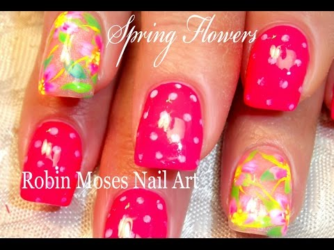 Neon Flowers & Polka Dot Spring Nails