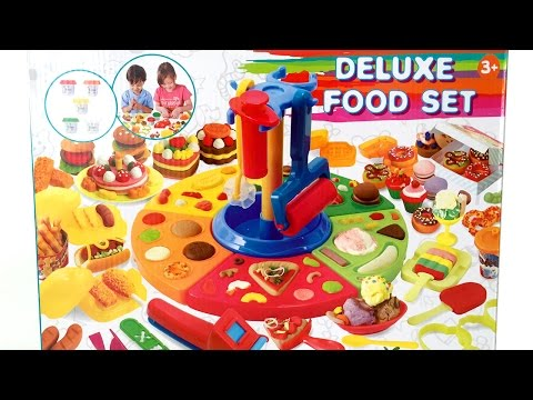 Deluxe Food Set Cooking Machine Play Doh Toy Food DIY Make Ice Creams Burgers Pizza Desserts & More