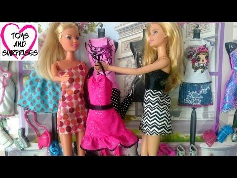 Мультфильм для девочек: Кукла Штеффи и Барби Магазин модной одежды для кукол Барби Barbie Fashion
