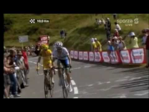 Contador vs Rasmussen on col de peyresourde in stage 15 of the tour de france of 2007