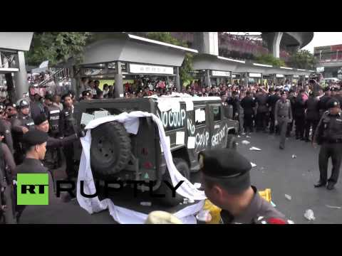 Thailand: Anti-coup protesters deface Army Humvee