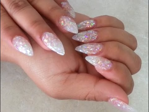 Glitter Pointed Acrylics Stiletto Pearl Glitter Acrylic