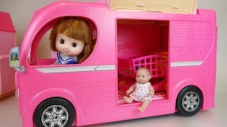 Baby doll camping bus car play baby Doli story