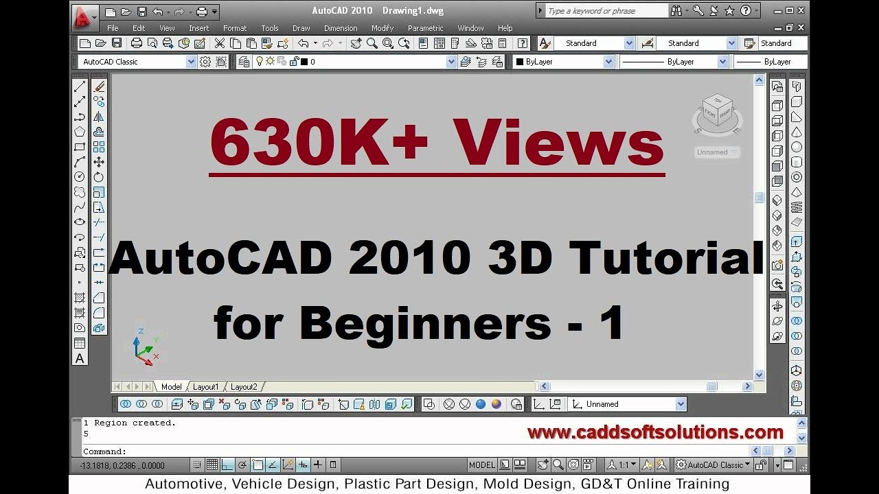 Autocad 3d modeling basic tutorial video for beginner 14 Simple 3d modeling online