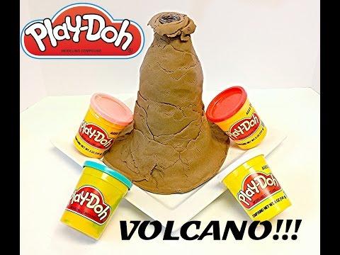 how to make a volcano with playdough