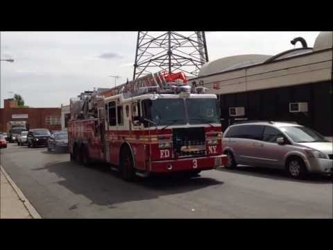 FDNY LADDER 3 LEAVING FDNY FLEET SERVICES DEPOT IN QUEENS, NEW YORK AFTER BEING SERVICED.