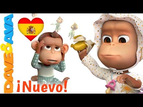 🐵 Canciones Infantiles en Español   Diez en la Cama    Сanciones Infantiles de Dave y Ava 🐵