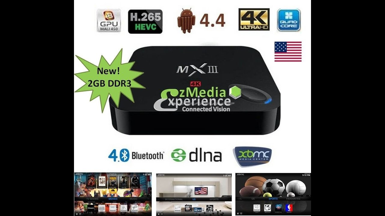 EzMediaXperience EzBOX Android 4.4 Quad Core 2G/8G fully loaded XBMC 4k TV Box - 3D-HD Blu-ray Streaming Media Player Dual 2.4/5GHz WiFi Bluetooth DLNA Airplay - All in one Entertainment System